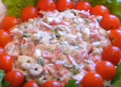 Салат Красная Шапочка - рецепт с фото, с помидорами, с курицей