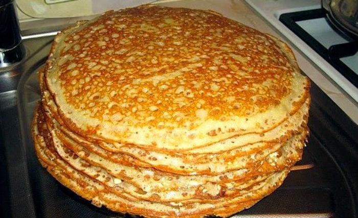 тонкие блины на кефире и молоке с дырочками рецепт с фото